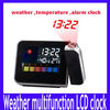 Free shipping Desktop Colorful LCD Digital Multi-function Weather Station Projection Temperature Calendar Alarm Clock