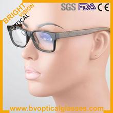 Wayfarer high quality acetate eyewear optical frames with wood temples spring hinge(B6019)