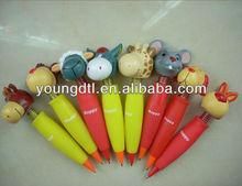 Animal head shaking ball pen