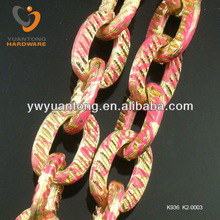 2012 New Design Flat Aluminum Chains With Gold Color Pink Pattern