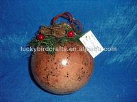 christmas decorative ball made of birch bark paper
