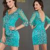 New Fashion Low Back Full Beading Auqa Illusion Cocktail Dress