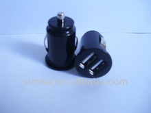 Black Mini Dual USB Car Adapter Charge For Iphone Ipad ipod Android