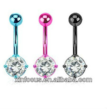 Crystal Belly Bar Pendant circle&body jewelry belly ring