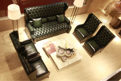 Luxury high back chesterfield leather sofa