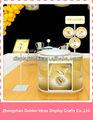Personalizar especial de ouro de madeira cosméticos monitores / make up armário de exposição