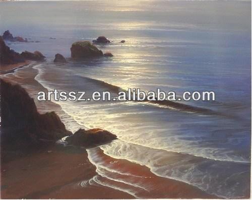 Bela onda do mar pintura a óleo pintura a óleo no nascer do sol - home decoração - wall art
