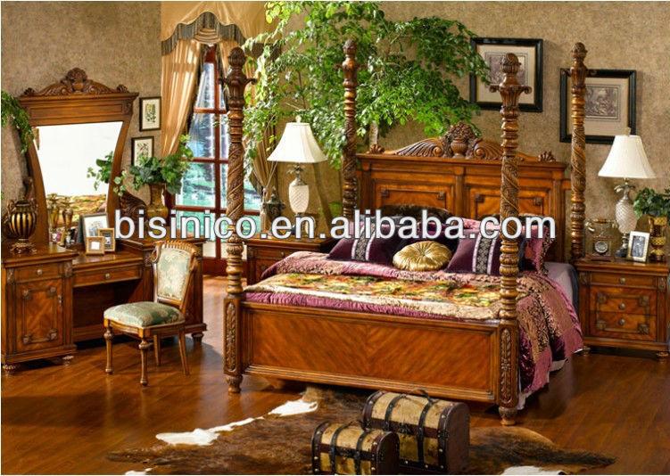 Style am ricain mobilier de chambre de luxe pays d - Set de chambre bois massif ...
