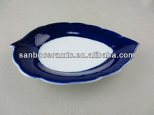 Stock porcelain glazed plate leaf shape