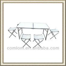 Portable Folding Aluminium table with 4 pcs Folding Chair, Portable Table Set