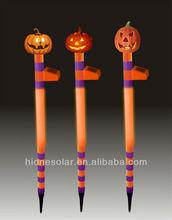 Polyresin solar light Halloween solar light pumpkin with plastic stake