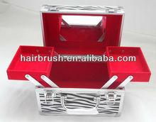 Aluminum zebra portable cosmetic makeup case with mirror