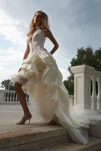 2013 Gorgeous Lace Top Taffeta Short Wedding Dresses Long Train
