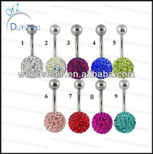 Czech gemstone pave bead belly button rings pave bead free belly bars navel belly rings body piercing jewelry