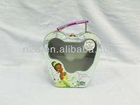 Handbag shaped tin box with clear window for girls