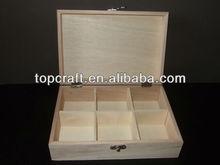 Plain wood TEA bag BOX CHEST 6 compartments