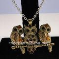Búho antiguos juegos de joyería colgante collar, aleación de joyas/amor joyería/collar de la aleación