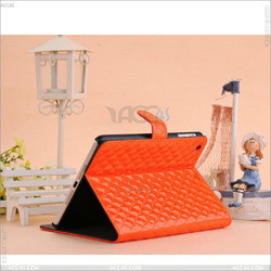 Diamond pattern folio leather case cover for Apple iPad Mini--P-iPDMINICASE033