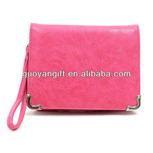2013 Hot lady Organizer leather wallet with long strap