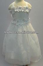 A-Line Tulle Gallus Tea-Length Flower Girl Dress