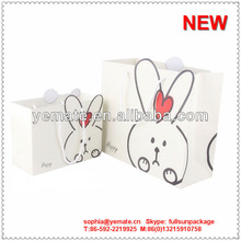 White Rabbit decoration handmade paper bag, lovely rabbit decorative candy bags, gift decoration bag with handle & heart