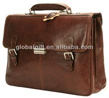 Brown document suit-case leather bag