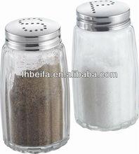 2 pcs glass salt and pepper pot with lid