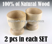Set of 2 Plain WOODEN EGG CUPS, 100% of Natural Wood, Craft - for decorating