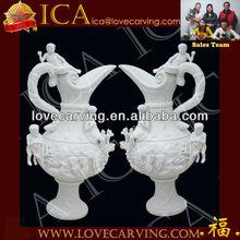 Marble Flower Vase,White Marble Flowerpot,Marble Flowerpot FS0018
