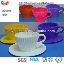 Mini Unique Silicone Baking Cups With Plastic Saucer FDA&LFGB Approval