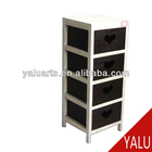 paulownia wood and plywood cabinet with 4 drawers in carbonized white and chocolate color