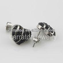 Wholesale cheap price black CZ stainless steel stud earrings