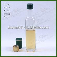 bouteille en verre pour 250ml huile comestible