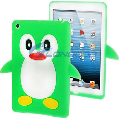 2013 High Quality 3d Penguin silicone case for iPad mini