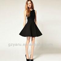 Black Women Lace Pleating Flared Chiffon Skirt Above Knee Dress S/M/L/XL