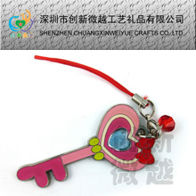 fashion pink metal mobile phone strap