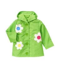 green color woven girl winter coat