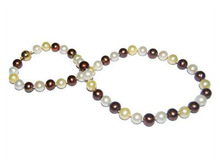 AA round white&brown 9-10mm freshwater pearl necklace