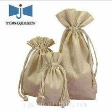 drawstring raw jute packing pouch/hessian bag
