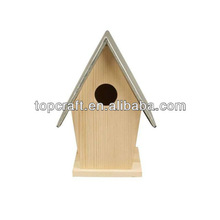 13cm Wooden Zinc Roof Bird Tit Box House Garden Decorate/Personalise Art Craft