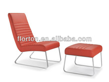 Chrome steel frame red leather lounge chair