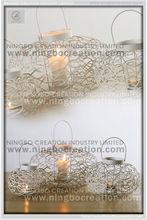 Handmade iron wire wave Chinese traditional Hurricane metal lantern, candle lantern, decoration lantern