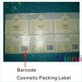 Customizeding etiqueta de envases para cosméticos con código de barras, cosméticos de marca privada