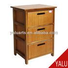 paulownia wood and 3 slated bamboo drawers cabinet