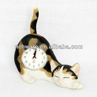 Carton cat shaped table alarm clocks for kids