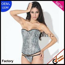 2013 white top fashion leopard print corsets cotton bodysuits for women