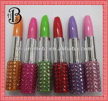 colorful rhinestone lipstick shape pen