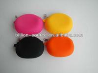 Stylish silicone coin zipper purses round design