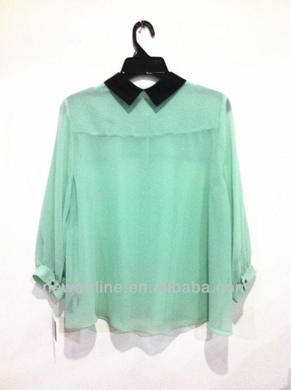 nueva moda de las señoras de largo manga verde menta blusa de gasa