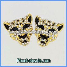 Jewelry Findings & Component Wholesale Gold Metal Pave Crystal Jewelry Connector Beads Leopard Head Charms For Bracelets MC-016G